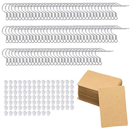 Earring Hook Set DIY Jewelry Making Kit with 925 Sterling Silver Ear Wires Rubber Earring Backs for DIY Jewellery Making 250PCS Hand Tools