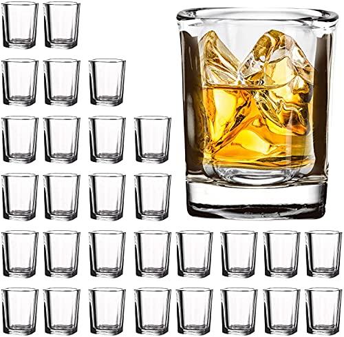 30 Pack Heavy Base Shot Glasses Bulk, Vivimee 2.2 oz Square Shot Glasses Set, Clear Espresso Shot...