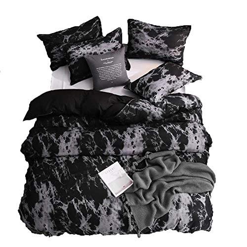 ZHANGYY 3pcs/Set Geometric Pattern Cotton Comforter Bedding Set Black Bed Linen Duvet Cover Set Grey No Filler Home Textile, 210 * 210cm