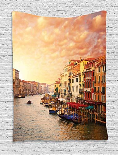 ABAKUHAUS Paisaje Tapiz de Pared, Imagen İtaliana De Venezia, para el Dormitorio Apto Lavadora y Secadora Estampado Digital, 150 x 200 cm, Multicolor