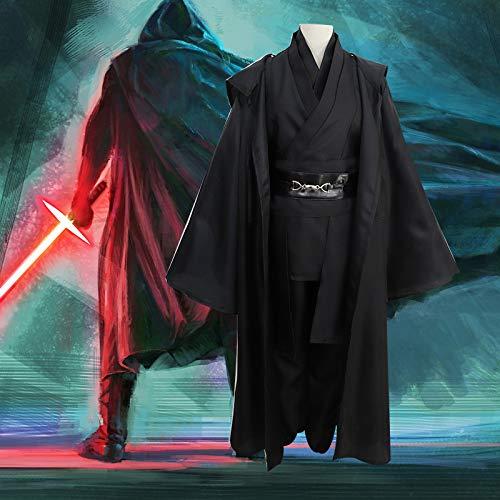 BLOIBFS Star Wars Jedi Ritter Kostüm, Halloween Superheld Nylon Hoodies Robe Anakin Sith Anzug Mantel Tops Hosen,Black-L