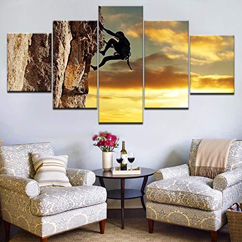 CXZZV Impresión Lienzo Pintura, Cuadro moderno 150x90cm 5 Piezas Acantilado de escalada en roca, cielo al atardecer Impresiones del Arte de la Pared Decoración de Pared Arte Pintura para Hogar Salón O
