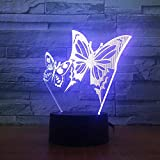 Wfmhra Alas de Mariposa Luz Nocturna LED Panel de acrílico 3D Lámpara de Escritorio de Mesa de ilusión estéreo Luz de Bulbo Multicolor con Control Remoto táctil