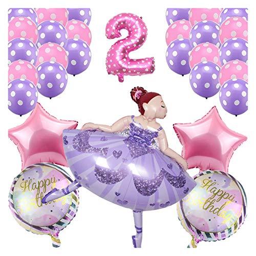JSJJAYH Ballon 30 stücke Tanzen Mädchen Ballone Hochzeit Ballerina Mädchen Ballon Kinder Happy Birthday Party Ballon Dekoration Baby Shower Globos décoration (Color : Two Years)