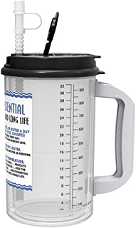 32 oz Insulated Cold Drink Mug with Black Lid and straw cap