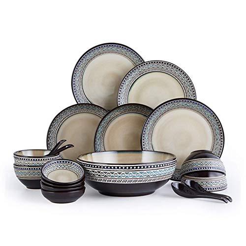 XUSHEN-HU Vajilla de cerámica con 18 piezas, cuenco/plato/cuchara, juego de cena, juego de combinación de porcelana en relieve, color marrón vintage
