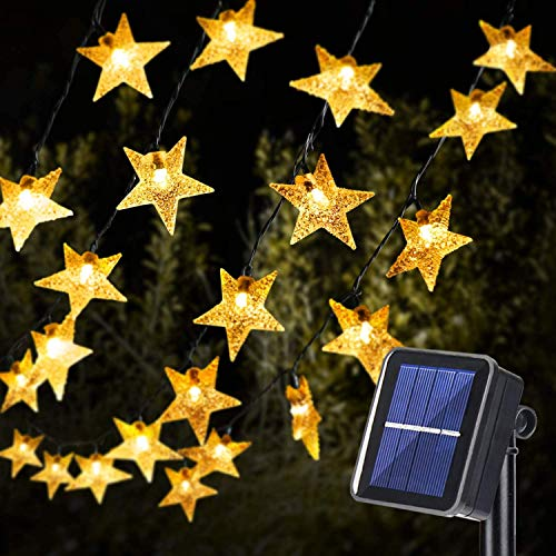 Solar Star String Lights, OxyLED 59Ft 110 LED Star Fairy Lights Outdoor Solar Lights for The Garden with USB 8 Modes Decorative Light for Yard Home Wedding Party (Warm White)