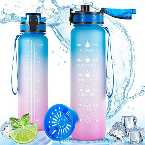 YOSHAWN Botella de Agua 1L, Botella Deportiva con Filtro y Marcador de Tiempo, Botella Agua Niños sin BPA a Prueba Fugas con Cepillo, para Acampar al Aire Libre Bicicleta Yoga Gimnasio(Azul-Rosa)