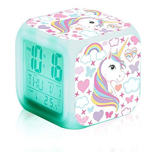 DOXMAL Despertador Infantil Unicornio,Despertador Digital con Pantalla LED de Temperatura, Relojes de Alarma Digitales para Niña Niños Mujeres Adultos Regalos de Cumpleaños para Dormitorio