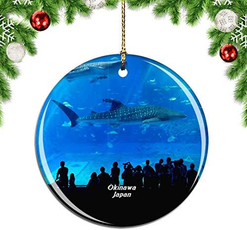 Mesllings Churaumi Aquarium Okinawa Japan Weihnachtsbaum Ornament Dekoration Hängende Anhänger Dekor Stadt Reise Souvenir Kollektion Doppelseitiges Porzellan 7,6 cm