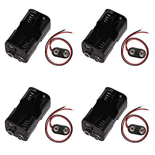 KingBra 4 paquetes de 4 x 1.5 V AA batería titular 6 V dos capas caso de batería+4 unids tipo I 9 V largo cable conexión duro Shell batería clips conector