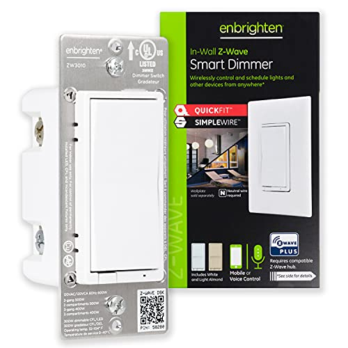 Enbrighten Z-Wave Smart Rocker Light Dimmer with QuickFit and SimpleWire, 3-Way Ready, Works with Alexa, Google Assistant, ZWave Hub Required, Repeater/Range Extender, White & Light Almond, 46203