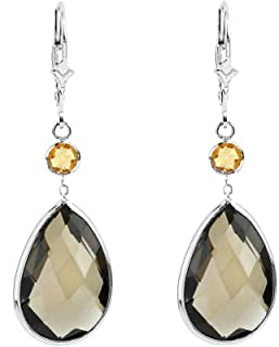 14K White Gold Handmade Gemstone Earrings with Dangling Round Citrine and Pear Shape Smoky Quartz