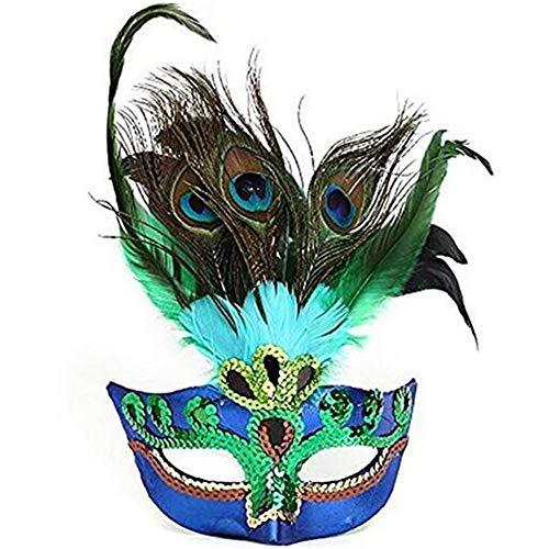 Sweenaly Women Peacock Feathers Mask Venetian Masquerade Mask Classic Masquerade Half Face Mask for Mardi Gras,Halloween Blue