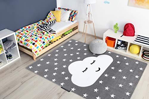 RugsX Tapis Enfant Petit pour Chambre de bébé, Tapis de Jeux, Chambres d'enfants, Cloud Nuage étoiles Gris 200x290 cm