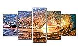 IGZNTTYD Prints Waves Modern Canvas Painting Hd Prints Decoración del hogar Fondo de noche Póster de pared 5 piezas por set B sin marco