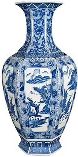 Vaas decoratie Vintage Home Decoration Ceramic Vase Hexagon blauw en wit porselein Flower Chinese Ming-vaas