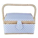 【𝐏𝐚𝐬𝐜𝐮𝐚】 Canasta de costura artesanal de tela, canasta de costura hecha a mano Tejido artesanal Hilo de aguja Caja de almacenamiento Organizador Tipo de tirón