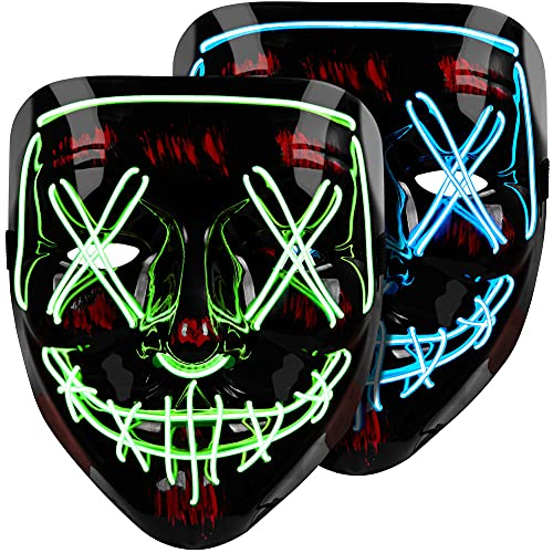 Halloween Mask LED Light Up Mask (2 Pack) Purge Mask, Scary Mask for Halloween Festival Party – Blue & Green