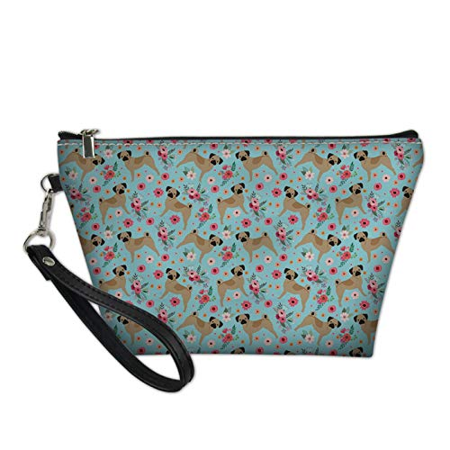 HUGS IDEA Fashion Pug Turquoise PU Leather Makeup Bag Travel Cosmetic Storage Pouch Shopping Casual Clutch Bag