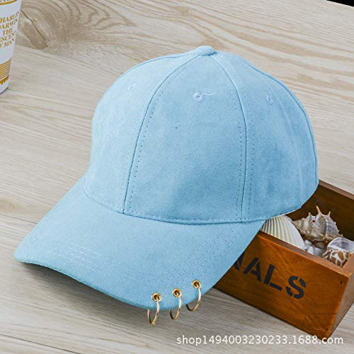 mlpnko Hut weibliche Mode Sonnencreme Visier Ring Hoop Baseball Cap Cap Retro hellblau einstellbar