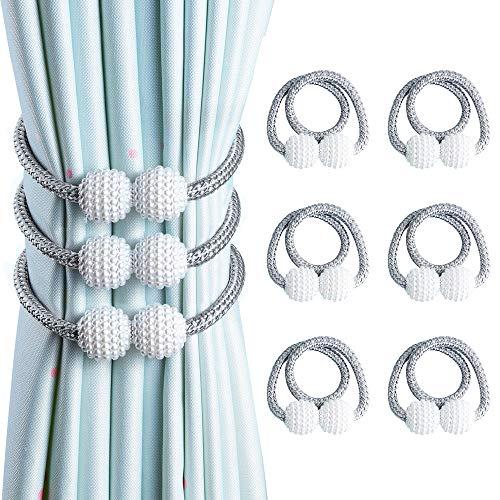 OTHWAY Vorhang Raffhalter Magnetisch, Vorhanghalter Elegante Perlenperle Holdbacks Gardinenklammern mit Starken Magnet (Hell grau, 6 Stück)