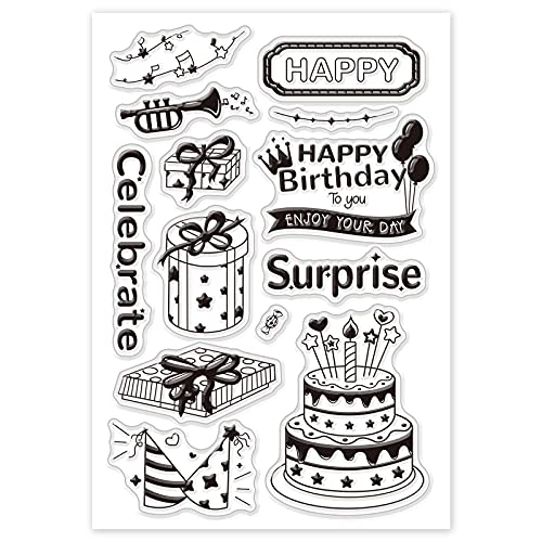 GLOBLELAND Födelsedagsfest tema silikon klara frimärken gummistämplar tårta present mönster akrylstämplar för album foto scrapbooking kortdekor, 160 x 110 mm