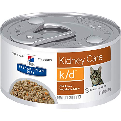 Hill's Prescription Diet k/d Kidney Care Chicken & Vegetable Stew Canned Cat Food, 2.9 Oz, 24-Pack...