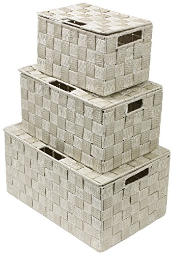 Sorbus Storage Box Woven Basket Bin Container Tote Cube Organizer Set Stackable Storage Basket Woven Strap Shelf Organizer Built-In Carry Handles (Lid Bins - 3 Pack, Beige)