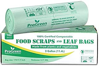 ProGreen 100% Compostable Trash Bags 3 Gallon, Extra Thick 0.71 Mil, 100 Count, Small Kitchen Compost Bin Bags, Food Scrap...