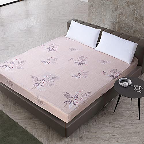 XGguo Protector de colchón de bambú Funda de colchón y Ajustable Sábana de Cama Impresa Funda Protectora cepillada-14_80X200 + 25cm