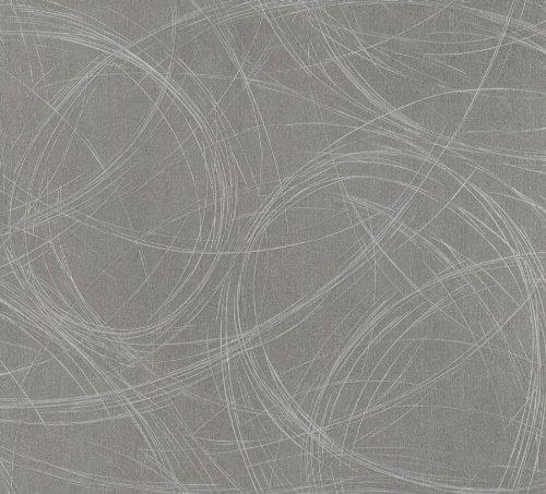 Tapete Grau Grafisch - Ovale, Linien, Geschwungen - Ideal für Wohnzimmer - Colani Visions - Made in Germany - 10,05m X 0,70m - 53327