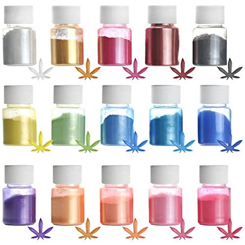 Glimmer-Pulver, 15 Farben, Epoxidharz-Farbstoff-Set, Seisso natürliche Pigment-Pulver, Farbstoffe für Epoxidharz, DIY-Kosmetik, Seife, Farbe, Nagellack, Sojawachs, Kerzenherstellung (10 g)
