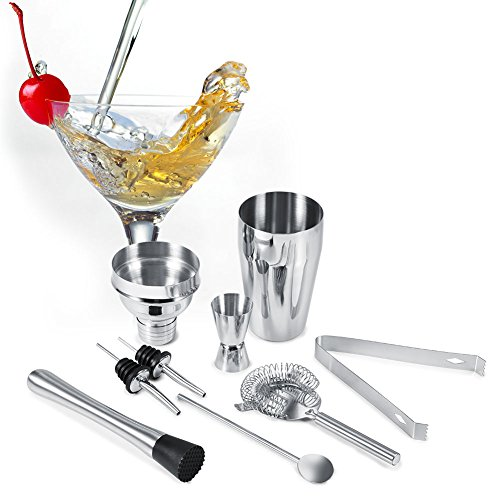 Juego de Coctelera, 8 Piezas Juego de Coctelera de Acero Inoxidable Juego de Pinzas para Hielo Cuchara Mezcladora Pourers Bar Tool