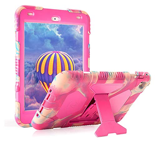 "ACEGUARDER iPad Mini 5 Case 2019 7.9"" for Kids Full Body Protective Silicone Cover with Adjustable Kickstand for iPad Mini 4 Mini 5 Case(Camouflage/Powder)"