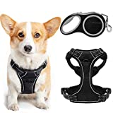 EXPAWLORER No-Pull Dog Harness with 16ft Retractable Dog Leash - Adjustable and Soft Mesh Harness, Reflective No-Choke Pet Vest with Easy Control Automatic Dog Leash for Outdoor Walking for Large Dogs