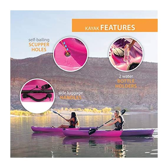 Lifetime Lotus Sit-On-Top Kayak with Paddle 7 Kayak Paddle included. Hull design provides ultra stability and great tracking Multiple footrest positions for different size Paddlers. Includes hard adjustable backrest Scupper holes drain Cockpit area. Molded Paddle cradle. Easy carry handle