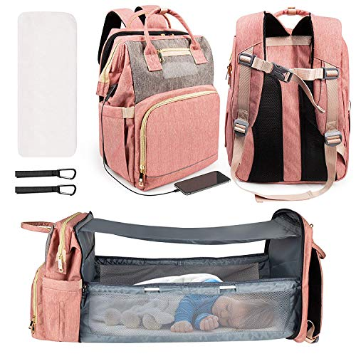 Home Cloud Diaper Bag/Portable Baby Bed/Mommy Bag/with Bassinet Changing Station Backpack, Travel Foldable 900D Waterproof, Washable Crib, Infant Sleeper Nest for Girls and Boys (Pink)