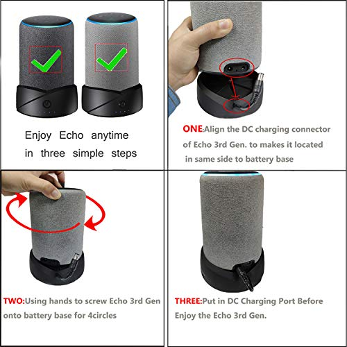 Base de batería portátil Compatible para Base de batería Echo de 3ra generación/Echo Plus de 2da generación NO para Echo 2nd Gen y Echo Plus 1st Gen