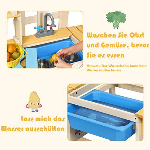 COSTWAY Matschküche mit Wasserhahn, Kinderküche Holz, Outdoor Küche, Holzküche, Spielküche, Spielzeugküche für Kinder ab 3 Jahren, 109 x 38 x 100 cm - 9