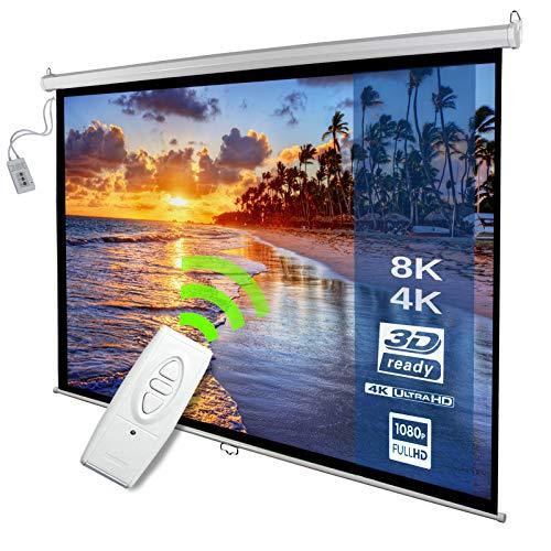 Motorleinwand - 240x135cm, 118 Zoll, 1: 1, 4: 3, 16: 9, HDTV, 8K, 4K Formate, Verstärkung 1,0, Weiß, höhenverstellbar, inkl. Fernbedienung - elektrische Beamerleinwand, Projektionsleinwand