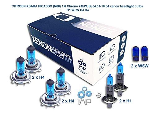 Ampoules de phares xénon lumineux| DIY, Kit simple d'utilisation | Compatible H1 H4 H4 Plus ampoules éclairage latéral gratuites W5W