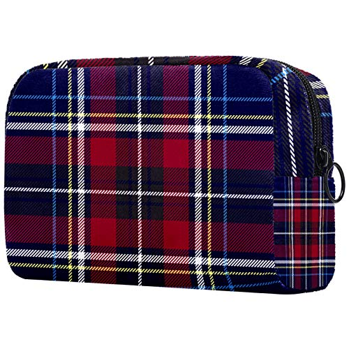 Plaid Pattern Blue with Zipper Makeup Bag Toiletry Bags for Women Travel Cosmetic Organizer
