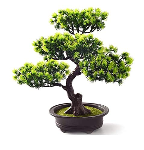 AMITD Bonsai Baum Künstlich,Künstliche Grün Bonsai Kunstpflanze mit Brown Topf, Tischdeko für Hochzeit/Büro/Zuhause Dekoration Green,C1