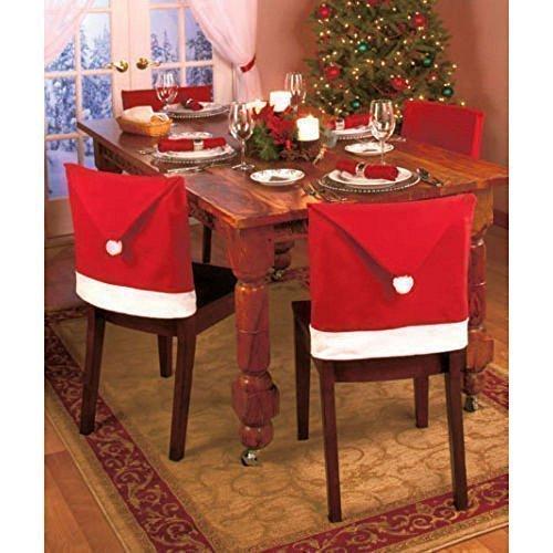 Kiki Monkey Xmas Natale Santa sedia esprito Natale coprisedili sedia rivestimento Hussen Natale–decorazione (6pezzi)