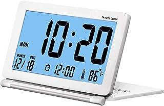 Liten digital reseväckarklocka batteri drivs med datum, temperatur, upprepad snooze och PU-läderfodral (med bakgrundsbelys...