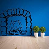 JXND Pegatinas de Pared para Chimenea, Sala de Estar, TV, sofá, Fondo, Pared, Arte Decorativo, diseño, patrón, leña Creativa, 78x67cm