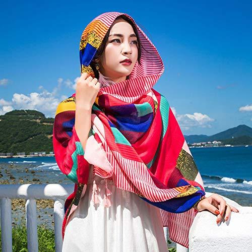 RIRUI sjaal dames etnische stijl katoen en linnen materiaal Soft Touch strand zonnecrème druksjaal koop 1 ontvang 2 gratis