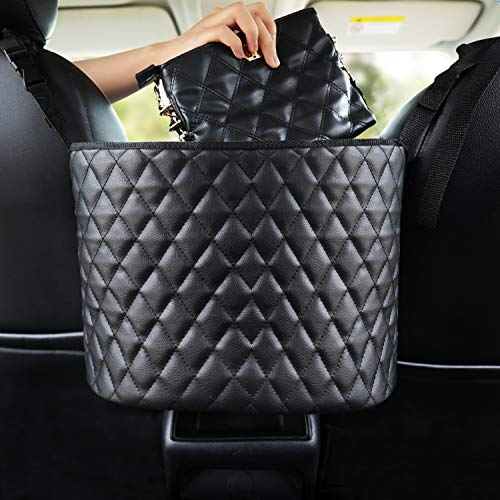 Car Handbag Holder, Black Leather Handbag Holding for Car Seat Storage and Handbag Holding Net Hanging Storage Bag Between Car Seats, Driver and Woman Storage Netting Pouch