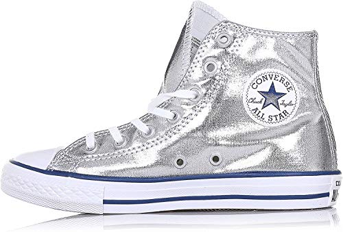 CONVERSE - Sneaker argentata Chuck Taylor All Star in tessuto lucido, inserto anteriore in gomma, Bambina, Ragazza, Donna-38,5